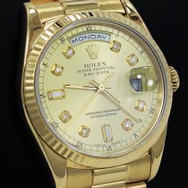 Rolex President Day-date 18238 18k Yellow Gold Diamond Dial...