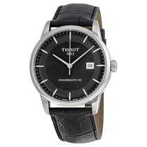 Tissot Luxury Automatic Black Dial Black Leather Mens Watch...