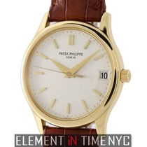 Patek Philippe Calatrava 18k Yellow Gold 34mm Silver Index...