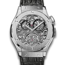 Hublot Tourbillon Skeleton Titanium Black Leather Men's Watch