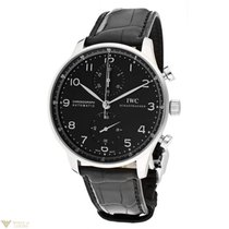 IWC Portuguese Automatic Chronograph Black Dial Black Crocodil...