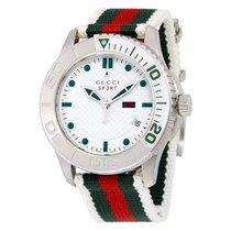 Gucci G Timeless Striped Nylon Strap Mens Watch YA126231