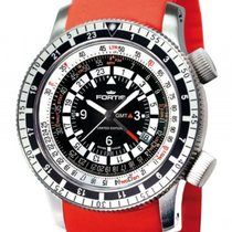 Fortis B-47 Calculator GMT 3 Time Zones Orange Stahl Automatik...