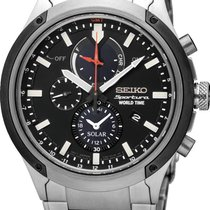 Seiko Sportura Solar World Time Chronograph SSC479P1 Herrenchr...