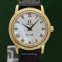 Omega De Ville Lady 18k Yellow Gold Mother Of Pearl Box&Pa...