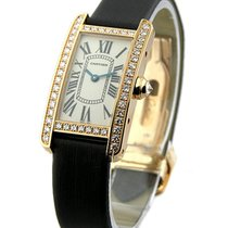 Cartier Ladys Size Tank Americaine with Diamond Case