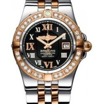 Breitling Galactic 30 Black Dial Steel and 18kt Rose Gold...