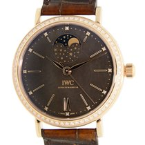 IWC Portofino 18 K Rose Gold With Diamonds Black Automatic...