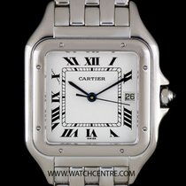 Cartier 18k White Gold Silver Roman Dial Panthere Gents B&P