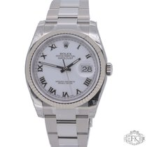 Rolex Datejust | Steel / White Gold fluted bezel white dial