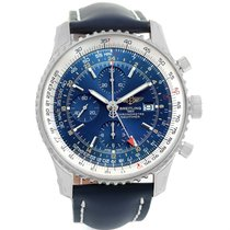 Breitling Navitimer World Gmt Steel Blue Dial Watch A24322 Unworn