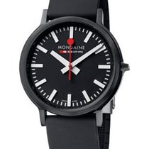 Mondaine Stop 2 Go - Black Case, Leather Strap and Dial - 41mm