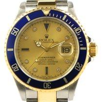 Rolex Submariner 16613 Champagne Serti Dial 18k Gold Steel...