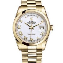 Rolex DAY-DATE 36mm 18K Yellow Gold President White Roman 2016