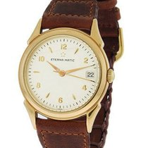 Eterna -Matic Dress Watch - 18K Gold Case - White Dial - Strap...
