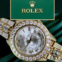 Rolex Diamond Rolex Sky-dweller 18k Yellow Gold 42mm Silver...
