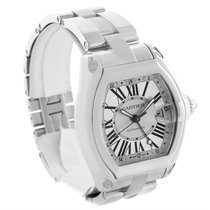 Cartier Roadster Gmt Silver Dial Stainless Steel Mens Watch...