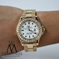 Rolex Diamond Rolex Yacht-master 16628 18k Yellow Gold White...