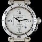 Cartier 18k White Gold Silver Dial Pasha Gents Wristwatch B&P
