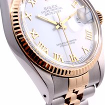 Rolex 36MM Mens 18K/SS Datejust White Roman Dial