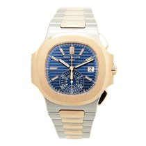 Patek Philippe New  Nautilus 18k Rose Gold And Steel Blue...