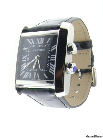 Cartier Tank Traveller Alarm Big Steel Black Roman Dial Quartz