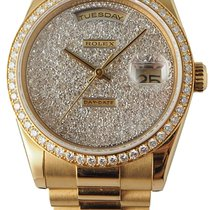 Rolex Day/Date Pave Dial ALL FACTORY 18K YG Presidential Bracelet