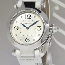 Cartier Pasha 18k White Gold Diamond 32mm Ladies Quartz Watch...