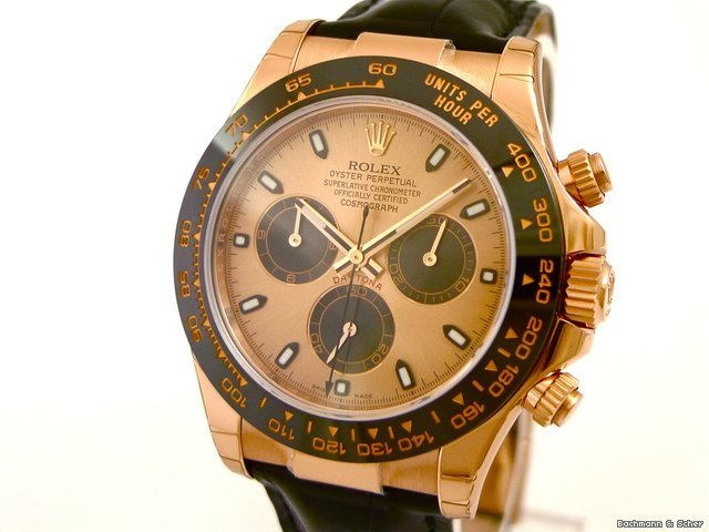 Rolex Daytona Cosmograph Ref. 116515LN. 18k Rose Gold, Ceramic