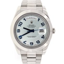 Rolex President Day-Date II Ice Blue Dial Platinum Watch 218206