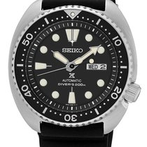 Seiko Prospex Mens Turtle Dive Watch - Black Dial - Rubber...