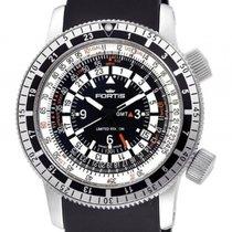 Fortis B-47 Calculator GMT 3 Time Zones Black Stahl Automatik...