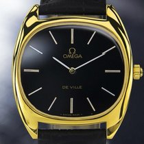 Omega Deville 18k Gold-plated Dress Watch, Black Dial, C.1985...