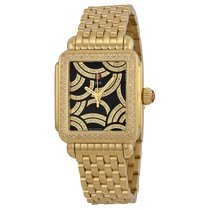 Michele Art of Deco Black Dial Gold-plated Ladies Watch