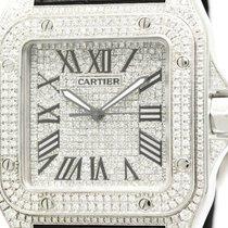 Cartier Polished Cartier Santos 100 Lm Custom Diamond Steel...