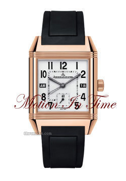 Jaeger-LeCoultre REVERSO SQUADRA HOMETIME GMT ROSE GOLD ON RUBBER STRAP