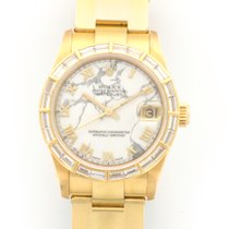 Rolex Yellow Gold Datejust Baguette Diamond Marble Ref. 68288