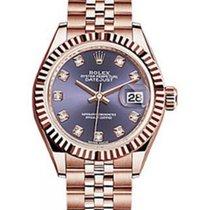 Rolex Datejust 28 279175 Aubergine Diamond Fluted Bezel Rose...
