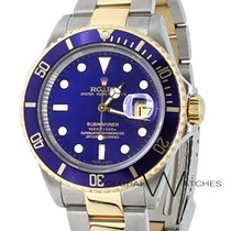 Rolex 40mm Oyster Perpetual Submariner Date 16613 18k Gold...