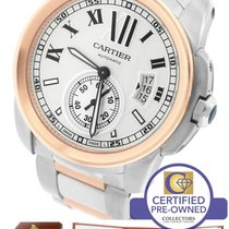 Cartier Calibre W7100036 Silver 42mm 18K Two Tone Rose Gold Watch