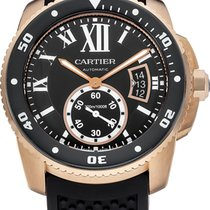 Cartier W7100052 Calibre Automatic 18KT Rose Gold Men BLK...