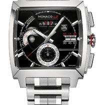 TAG Heuer MONACO LS CHRONO CALIBRE 12 Black Dial Steel Bracelet