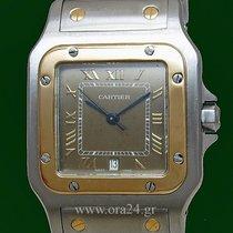 Cartier Santos Galbee 18K Yellow Gold Steel Date Gold Roman Dial