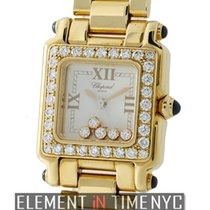 Chopard Happy Sport Square 5 Floating Diamonds 18k Yellow Gold...