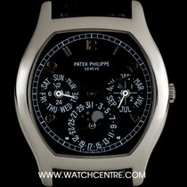 Patek Philippe Platinum Black Dial Tonneau Perpetual Calendar...