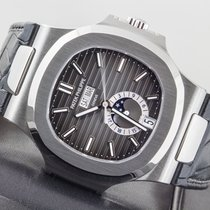 Patek Philippe Stainless Steel Nautilus Moon Phase Black Dial...