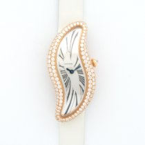 Cartier Pink Gold Baignoire S Crash Diamond Strap Watch
