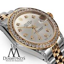 Rolex Ladies 78273 Datejust 2 Tone 31mm Silver Color Diamond...