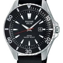 Pulsar Mens On the Go Solar Watch - Black Dial - Stainless...