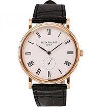 Patek Philippe Calatrava 36mm Rose Gold Watch Black Leather Strap